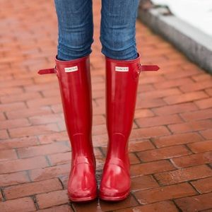 Tall red hunter boots